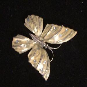 Monet Butterfly Brooch Clear Rhinestones